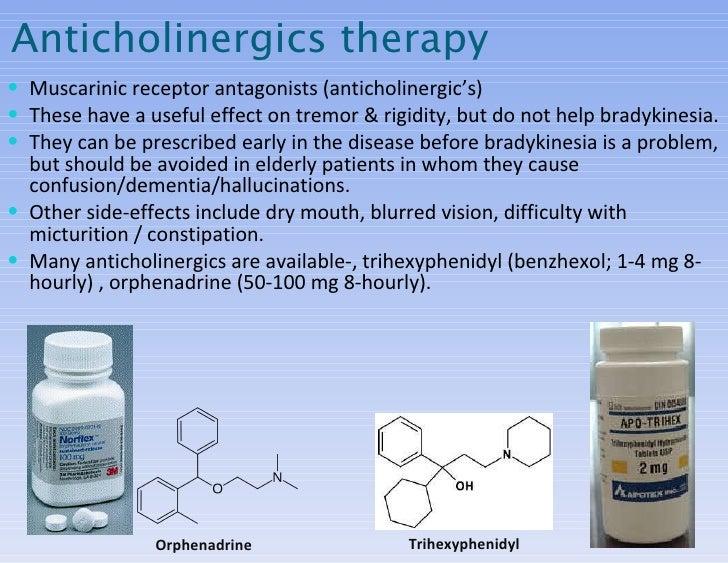 <ul><li>Muscarinic receptor antagonists (anticholinergic's) </li></ul><ul><li>These have a useful effect on tremor & rigid...
