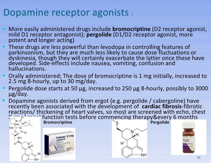 Dopamine receptor agonists  : <ul><li>More easily administered drugs include  bromocriptine  (D2 receptor agonist, mild D1...