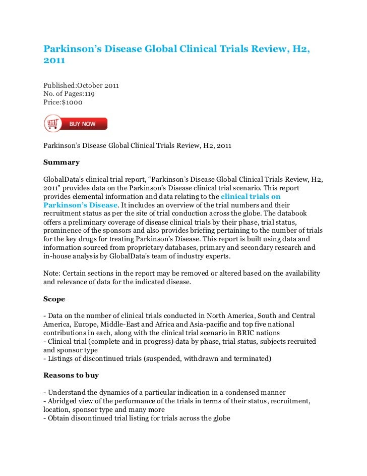Parkinson's Disease Global Clinical Trials Review, H2,2011Published:October 2011No. of Pages:119Price:$1000Parkinson's Dis...