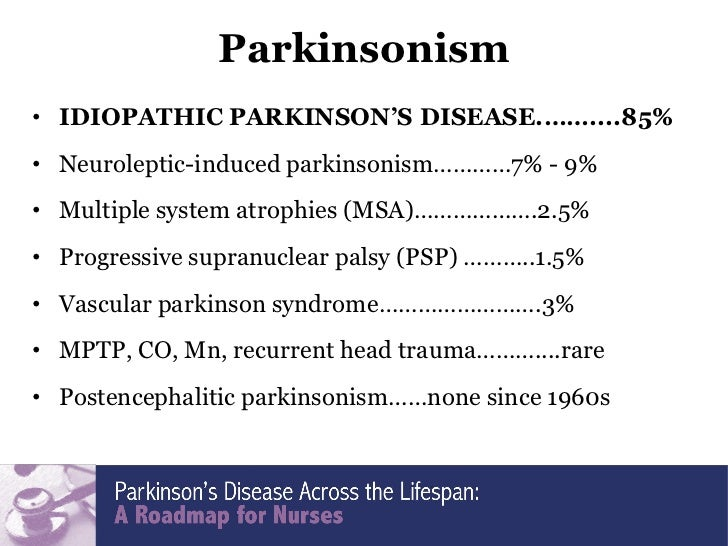 idiopathic parkinsons disease Idiopathic parkinson's disease is the most common form of parkinsonism, which is a group of movement disorders that have similar features and symptoms.