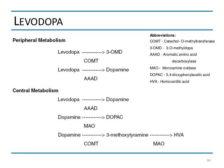 LEVODOPA           Abbreviations:           COMT - Catechol- O-methyltransferase           3-OMD - 3-O-methyldopa         ...