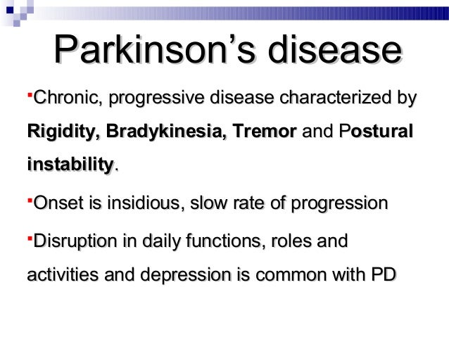parkinson s disease notes Parkinson's disease is now considered a complex systemic disease also characterized by the occurrence of a variety of non-motor symptoms among them, a chemosensory impairment defined as a deficient.