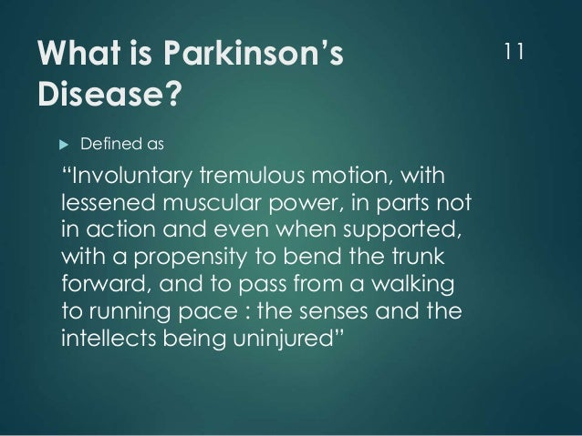 what is parkinsons disease Secondary parkinsonism is when symptoms similar to parkinson disease are caused by certain medicines, a different nervous system disorder, or another illness parkinsonism refers to any condition that involves the types of movement problems seen in parkinson disease.