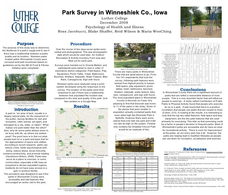 Park Survey in Winneshiek Co., Iowa Luther College December 2008  Psychology of Health and Illness Ross Jacobucci, Blake S...