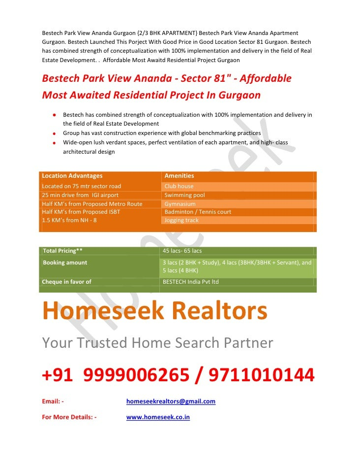 Bestech Park View Ananda Gurgaon {2/3 BHK APARTMENT} Bestech Park View Ananda Apartment Gurgaon. Bestech Launched This Por...