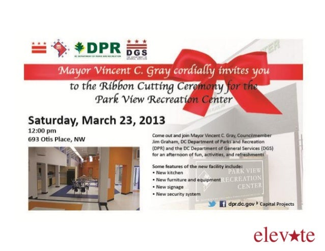 Parkview Recreation Center Ribbon Cutting Flyer