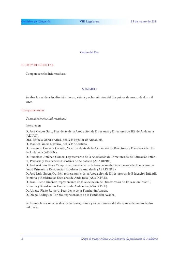 Comisión de Educación                        VIII Legislatura                              15 de marzo de 2011            ...