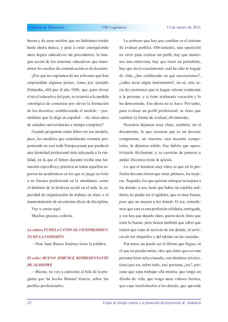 Comisión de Educación                          VIII Legislatura                              15 de marzo de 2011buena y de...