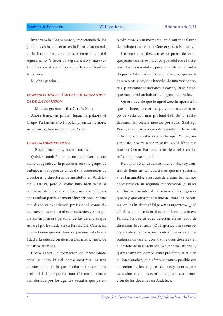 Comisión de Educación                        VIII Legislatura                              15 de marzo de 2011    Importan...
