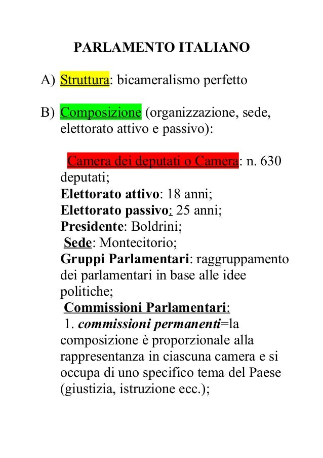 Parlamento italiano for Composizione parlamento italiano