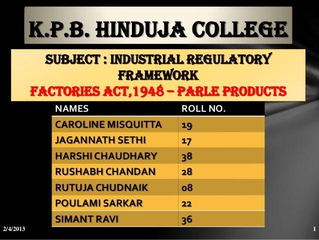 K.P.B. HINDUJA COLLEGE             SUBJECT : industrial regulatory                        framework           Factories ac...