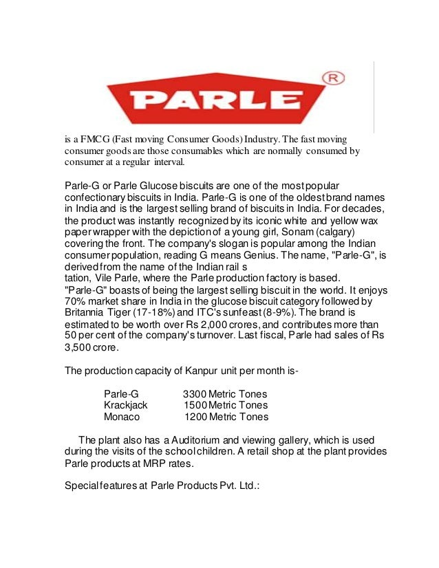 project report on parle-g pdf
