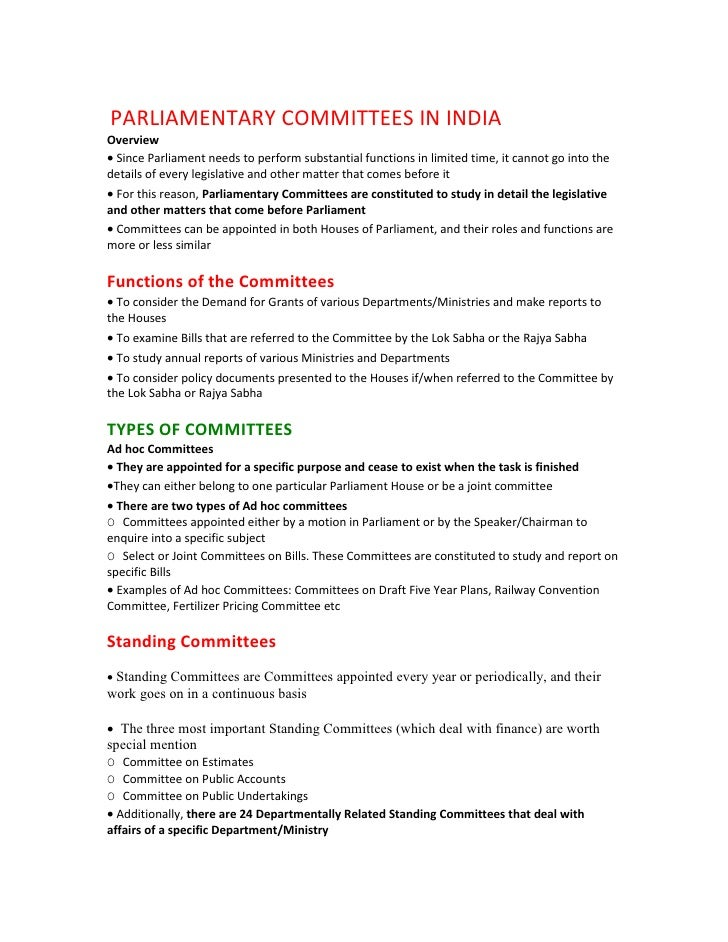 PARLIAMENTARY COMMITTEES IN INDIAOverview• Since Parliament needs to perform substantial functions in limited time, it can...