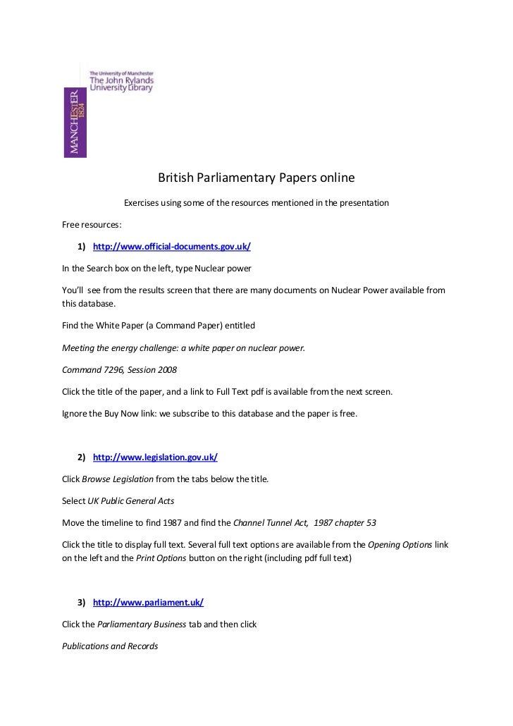 British Parliamentary Papers online<br />Exercises using some of the resources mentioned in the presentation<br />Free res...