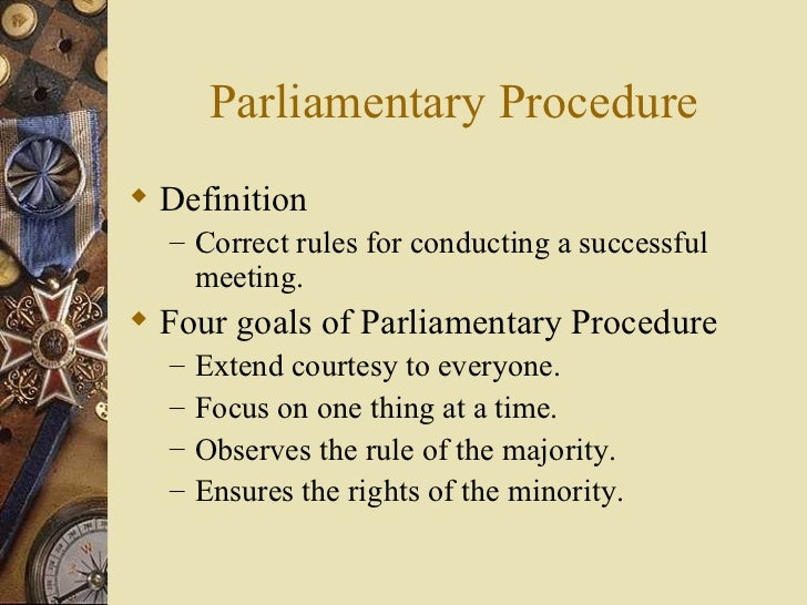 Parliamentary procedure for Rule of three meaning
