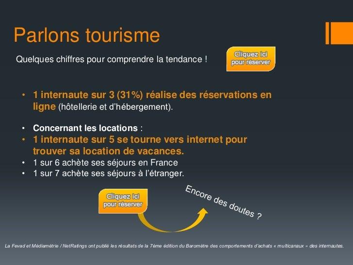 Parlons tourisme     Quelques chiffres pour comprendre la tendance !       • 1 internaute sur 3 (31%) réalise des réservat...