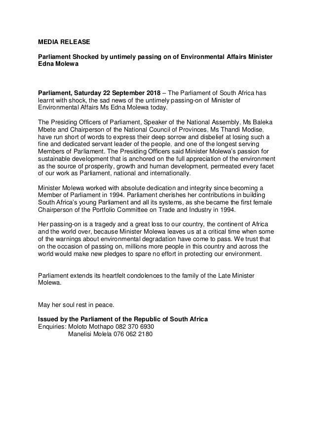 MEDIA RELEASE Parliament Shocked by untimely passing on of Environmental Affairs Minister Edna Molewa Parliament, Saturday...