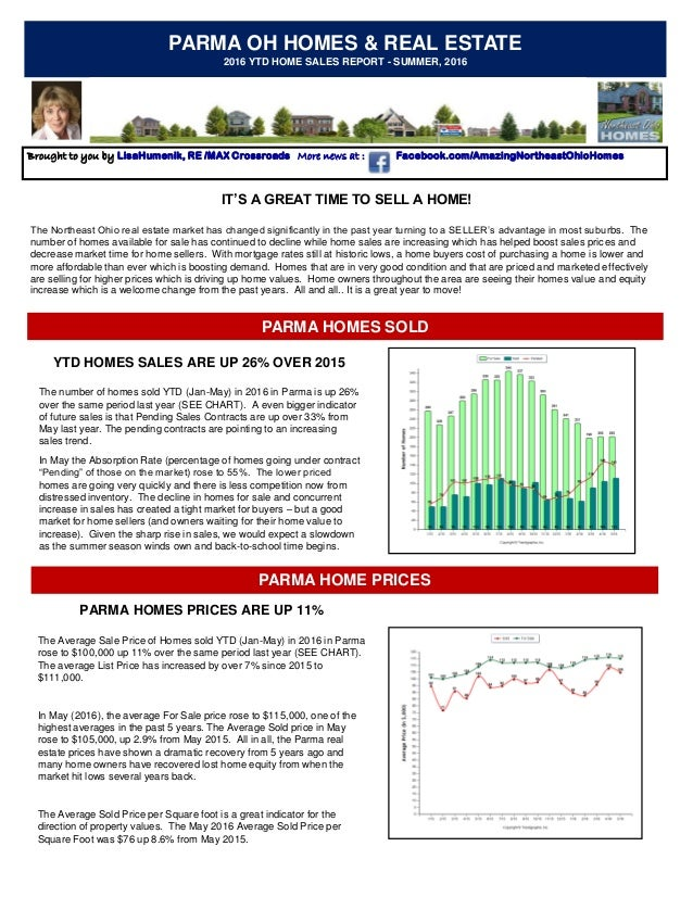 PARMA OH HOMES & REAL ESTATE 2016 YTD HOME SALES REPORT - SUMMER, 2016 Brought to you by LisaHumenik, RE /MAX Crossroads M...