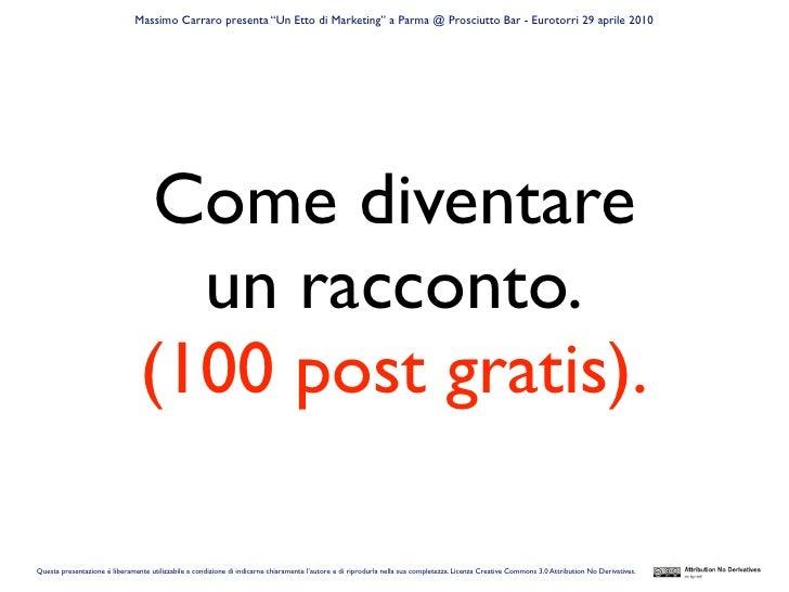 """Massimo Carraro presenta """"Un Etto di Marketing"""" a Parma @ Prosciutto Bar - Eurotorri 29 aprile 2010                       ..."""