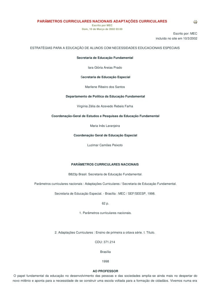 PARÂMETROS CURRICULARES NACIONAIS ADAPTAÇÕES CURRICULARES                                                      Escrito por...
