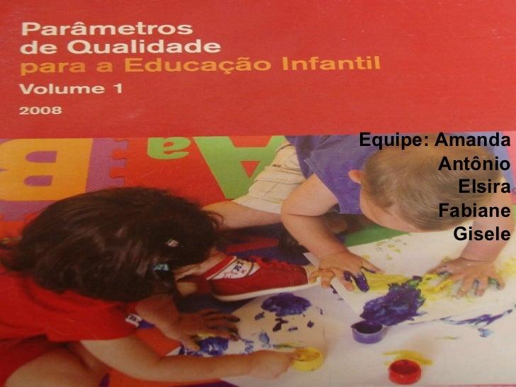 Equipe: Amanda Antônio Elsira Fabiane Gisele