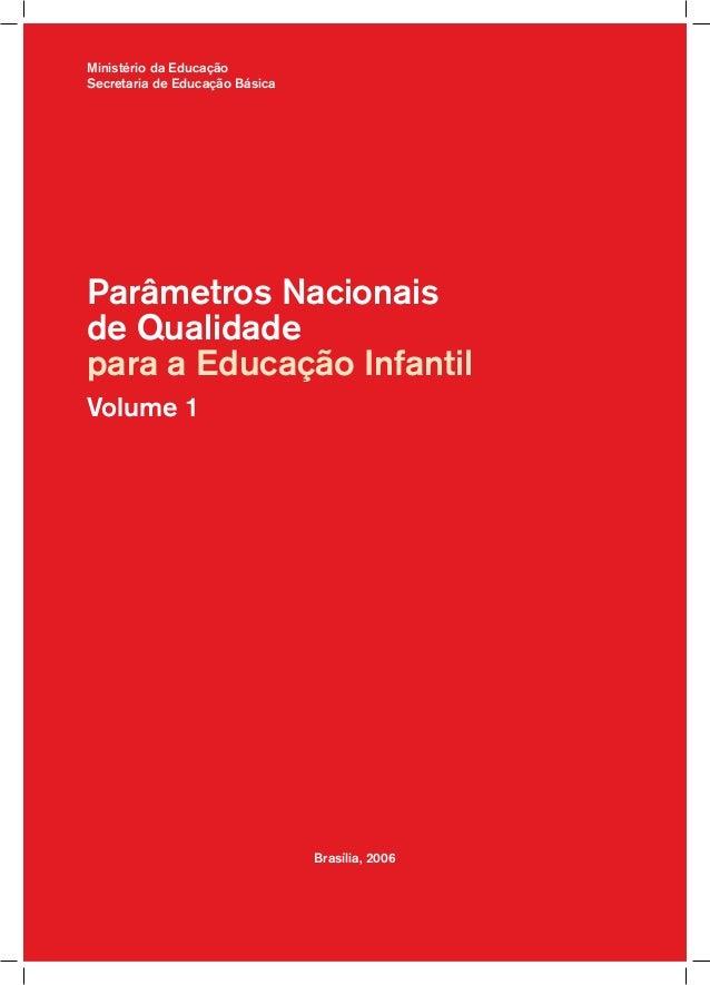 Ministério da Educação Secretaria de Educação Básica  Parâmetros Nacionais de Qualidade para a Educação Infantil Volume 1 ...