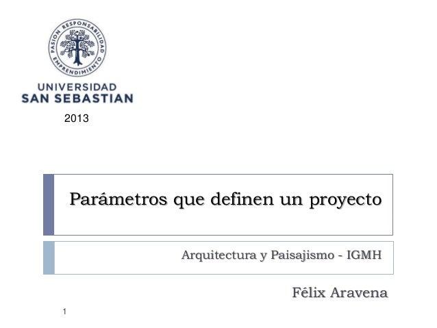 2013  Parámetros que definen un proyecto Arquitectura y Paisajismo - IGMH  Félix Aravena 1