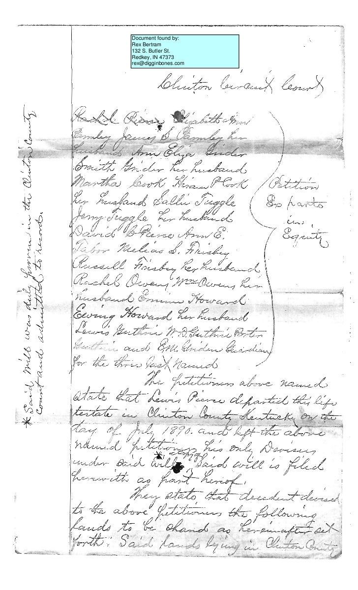 Document found by:Rex Bertram132 S. Butler St.Redkey, IN 47373rex@digginbones.com