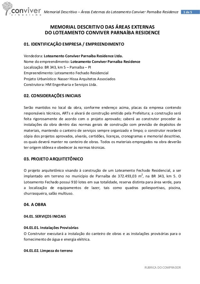 Parnaiba Residence Associacao Memorial Descritivo Areas Comuns