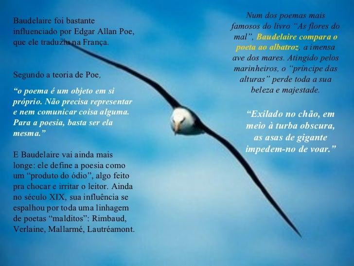 """Num dos poemas mais famosos do livro """"As flores do mal"""",  Baudelaire compara o poeta ao albatroz , a imensa ave dos mares...."""