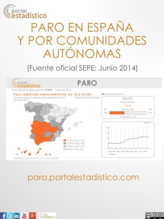 PARO EN ESPAÑA Y POR COMUNIDADES AUTÓNOMAS paro.portalestadistico.com (Fuente oficial SEPE: Junio 2014)