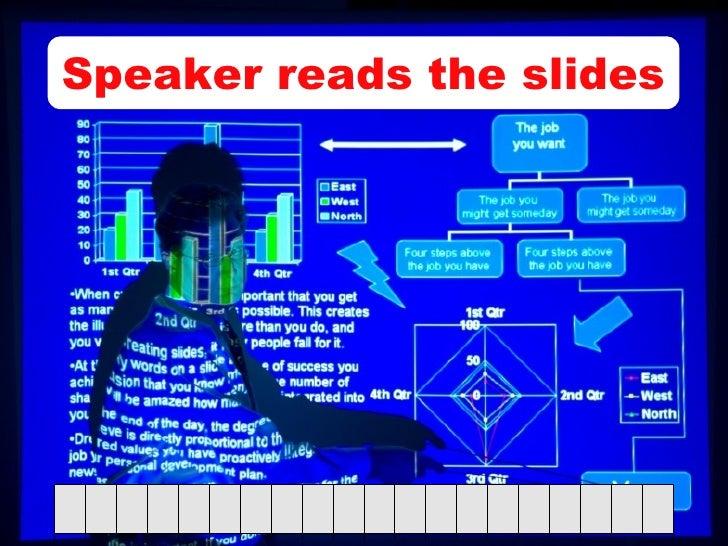 Speaker reads the slides