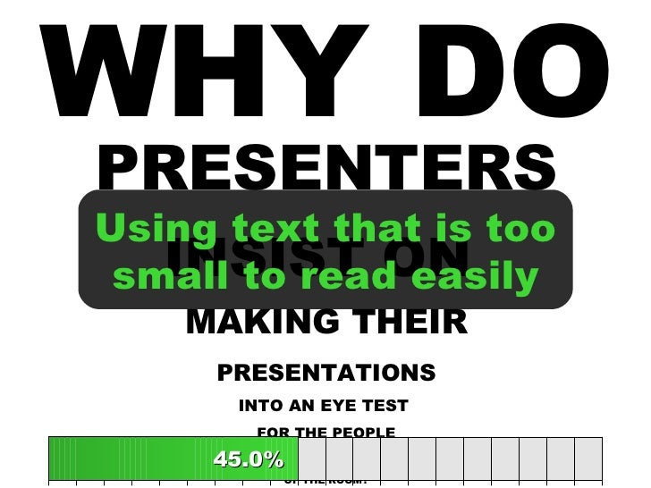 WHY DO PRESENTERS INSIST ON  MAKING THEIR PRESENTATIONS INTO AN EYE TEST  FOR THE PEOPLE AT THE BACK OF THE ROOM? 45.0% 45...