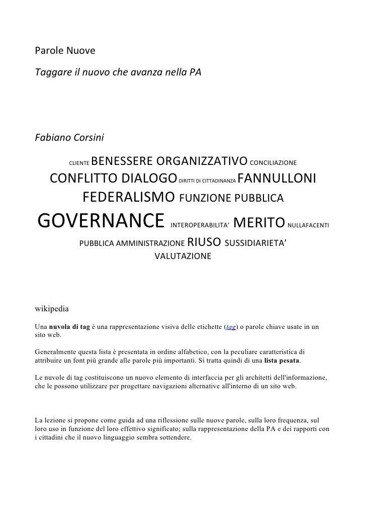 Parole Nuove Taggare il nuovo che avanza nella PA     Fabiano Corsini              CLIENTE   BENESSERE ORGANIZZATIVO CONCI...