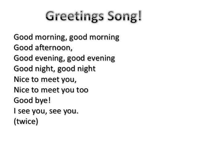 Good Morning Good Afternoon Good Evening Good Night Song