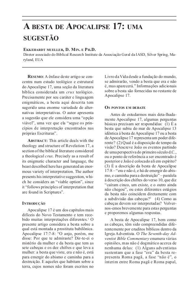 31A besta de Apocalipse 17: umasugestãoEkkehardt mueller, D. Min. e Ph.D.Diretor associado do Biblical Research Institute ...