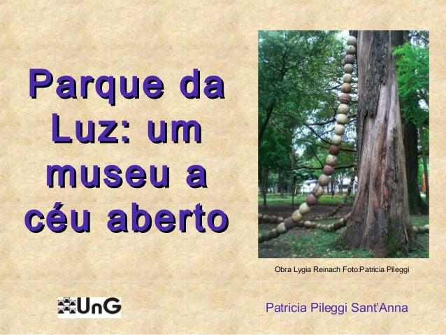 Parque daParque da Luz: umLuz: um museu amuseu a céu abertocéu aberto Patricia Pileggi Sant'Anna Obra Lygia Reinach Foto:P...