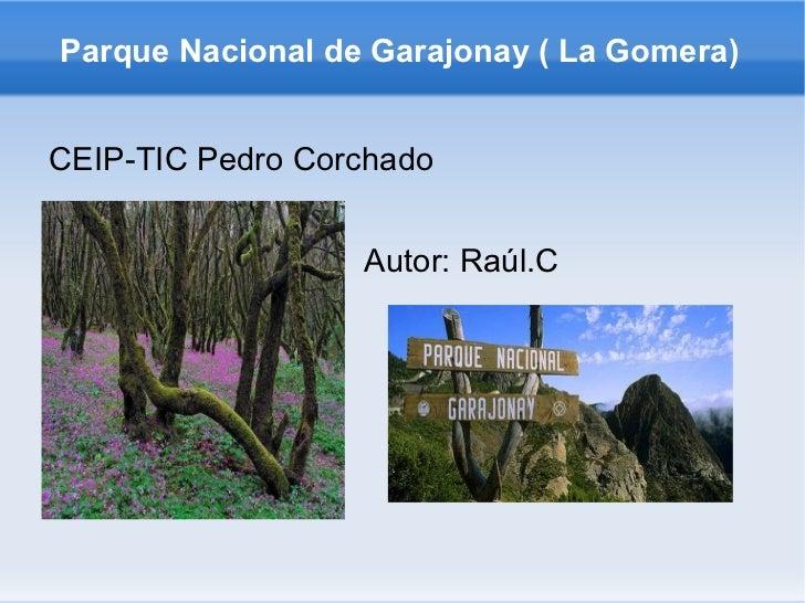 Parque Nacional de Garajonay ( La Gomera) <ul><li>CEIP-TIC Pedro Corchado </li></ul>Autor: Raúl.C