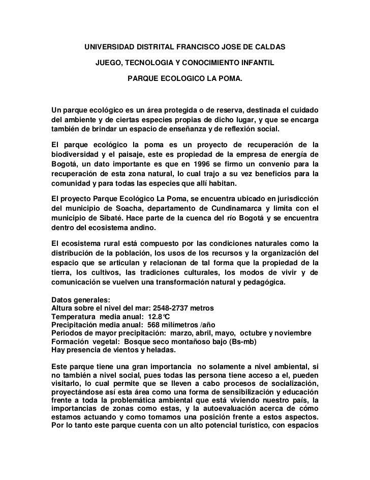 UNIVERSIDAD DISTRITAL FRANCISCO JOSE DE CALDAS            JUEGO, TECNOLOGIA Y CONOCIMIENTO INFANTIL                     PA...