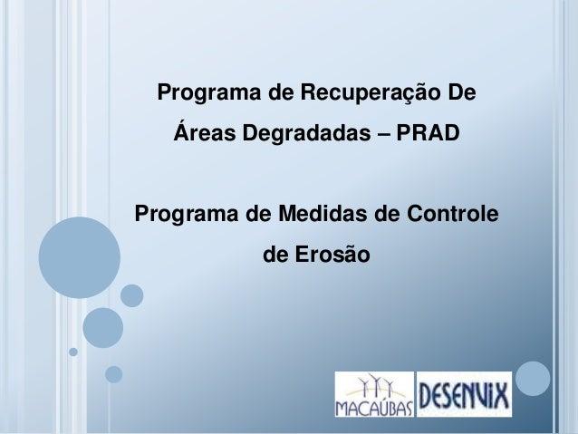 Programa de Recuperação De Áreas Degradadas – PRAD Programa de Medidas de Controle de Erosão