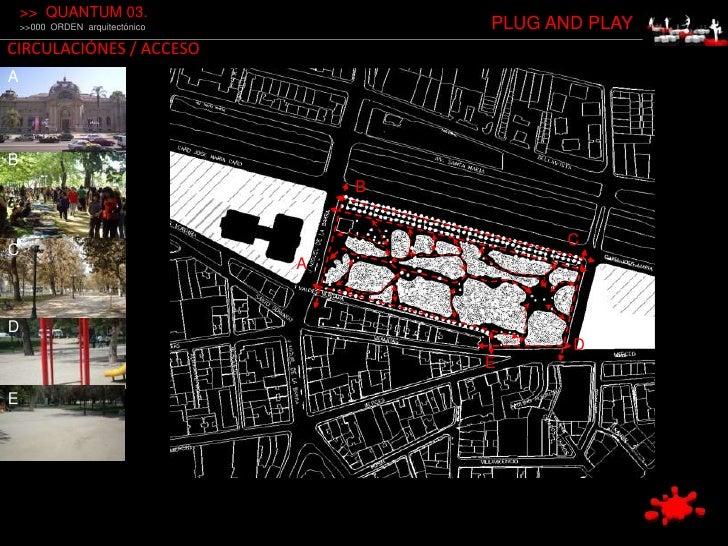 &gt;&gt;  QUANTUM 03.<br />&gt;&gt;000  ORDEN  arquitectónico<br />PLUG AND PLAY<br />CIRCULACIÓNES / ACCESO<br />A<br />B...