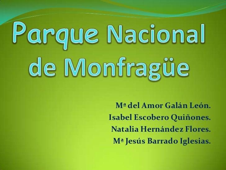 Mª del Amor Galán León.Isabel Escobero Quiñones. Natalia Hernández Flores. Mª Jesús Barrado Iglesias.
