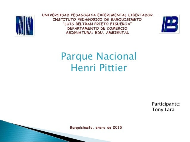 "UNIVERSIDAD PEDAGOGICA EXPERIMENTAL LIBERTADOR INSTITUTO PEDAGOGICO DE BARQUISIMETO ""LUIS BELTRAN PRIETO FIGUEROA"" DEPARTA..."