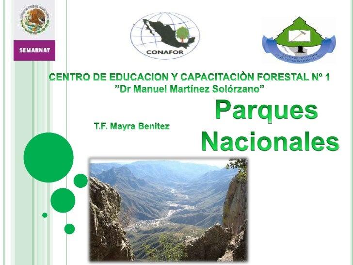 """CENTRO DE EDUCACION Y CAPACITACIÒN FORESTAL Nº 1<br />""""Dr Manuel Martínez Solórzano""""<br />Parques<br /> Nacionales<br />T...."""