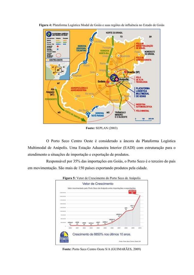 Figura 4: Plataforma Logística Modal de Goiás e suas regiões de influência no Estado de Goiás Fonte: SEPLAN (2003) O Porto...
