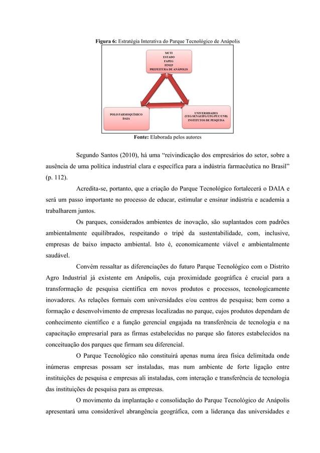 Figura 6: Estratégia Interativa do Parque Tecnológico de Anápolis Fonte: Elaborada pelos autores Segundo Santos (2010), há...