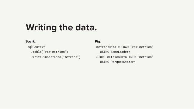 "Writing the data. Spark: sqlContext .table(""raw_metrics"") .write.insertInto(""metrics"") Pig: metricsData = LOAD 'raw_metric..."