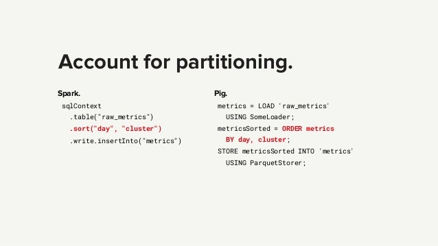"""Account for partitioning. Spark. sqlContext .table(""""raw_metrics"""") .sort(""""day"""", """"cluster"""") .write.insertInto(""""metrics"""") Pig..."""