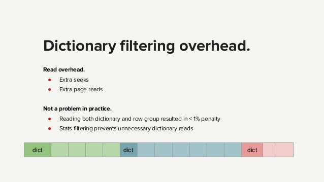 Dictionary filtering overhead. Read overhead. ● Extra seeks ● Extra page reads Not a problem in practice. ● Reading both d...