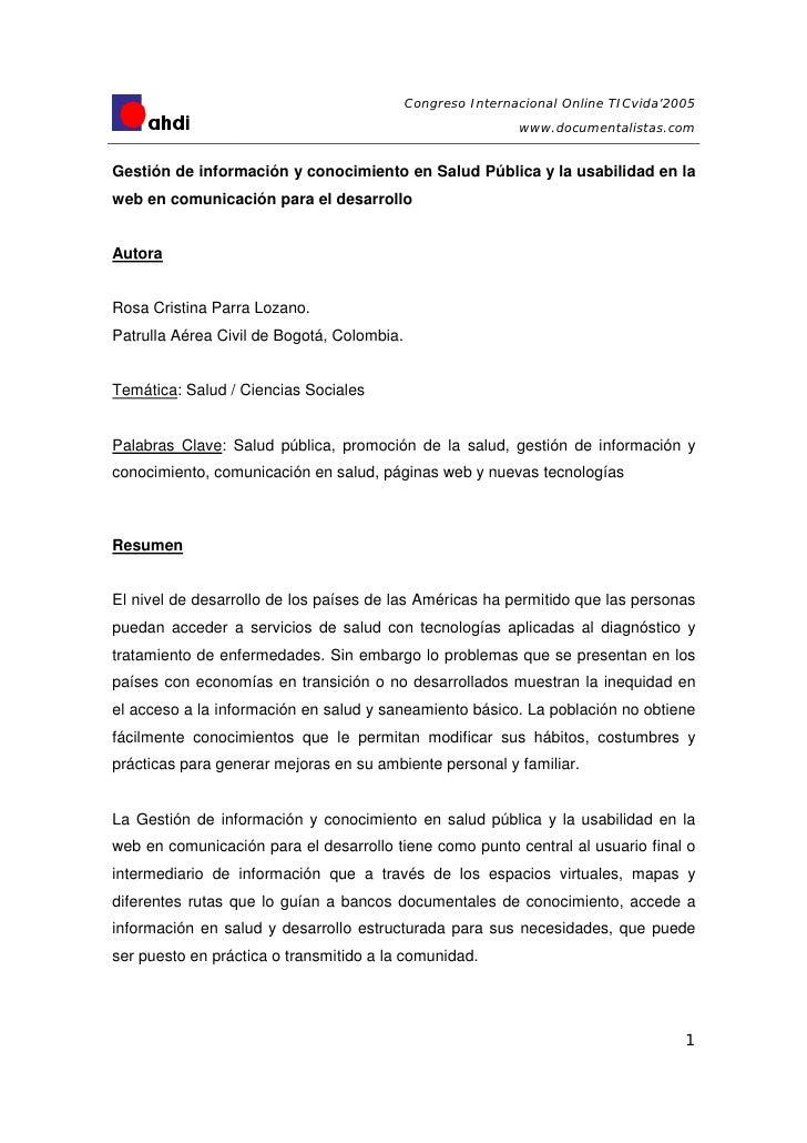 Congreso Internacional Online TICvida'2005                                                             www.documentalistas...